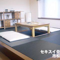 樹脂畳表セキスイ「美草」市松ブラック-01